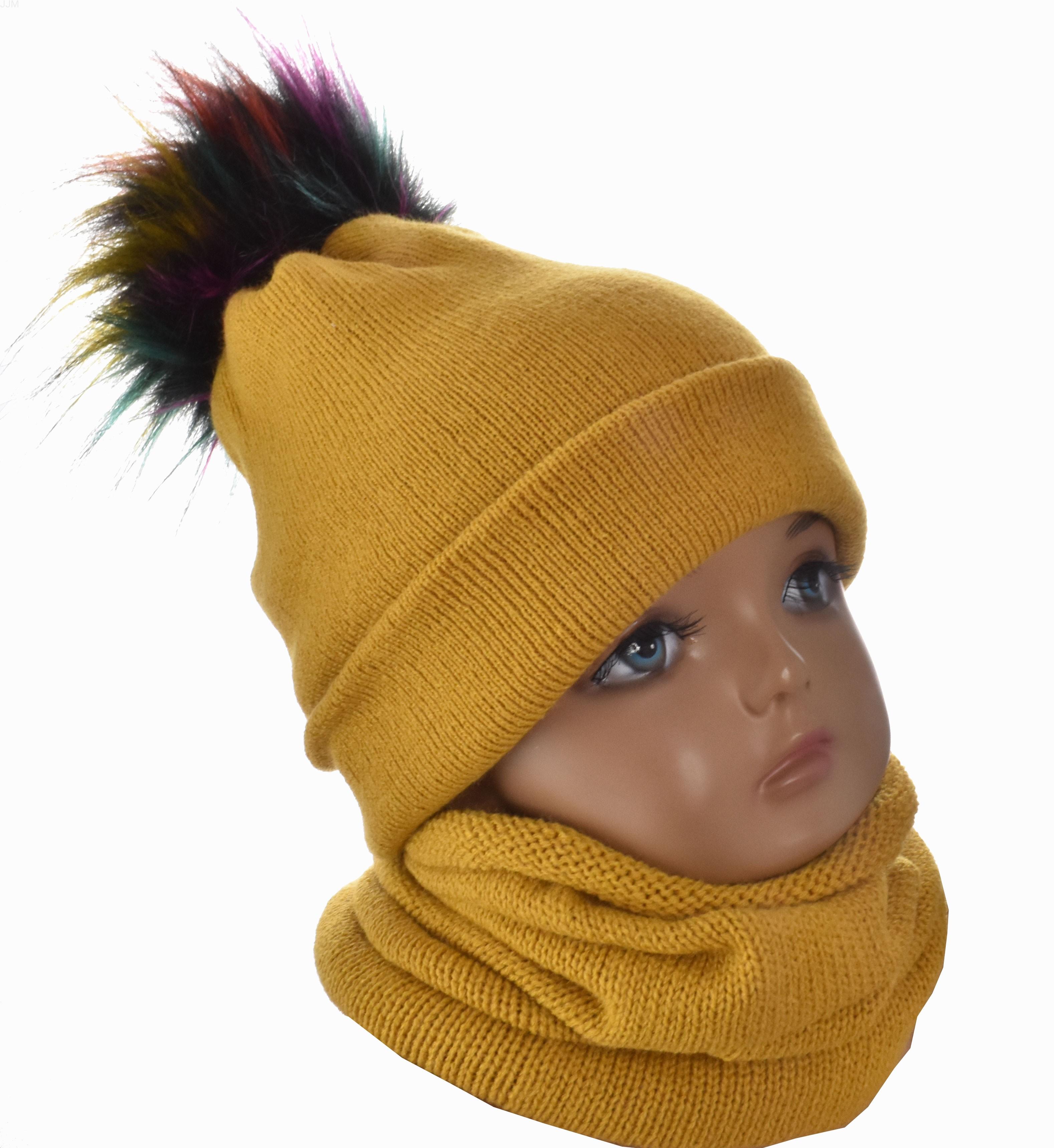 0ef1ad189 Baby set čiapka s brmbolcom a komínový šál horčicová 1092