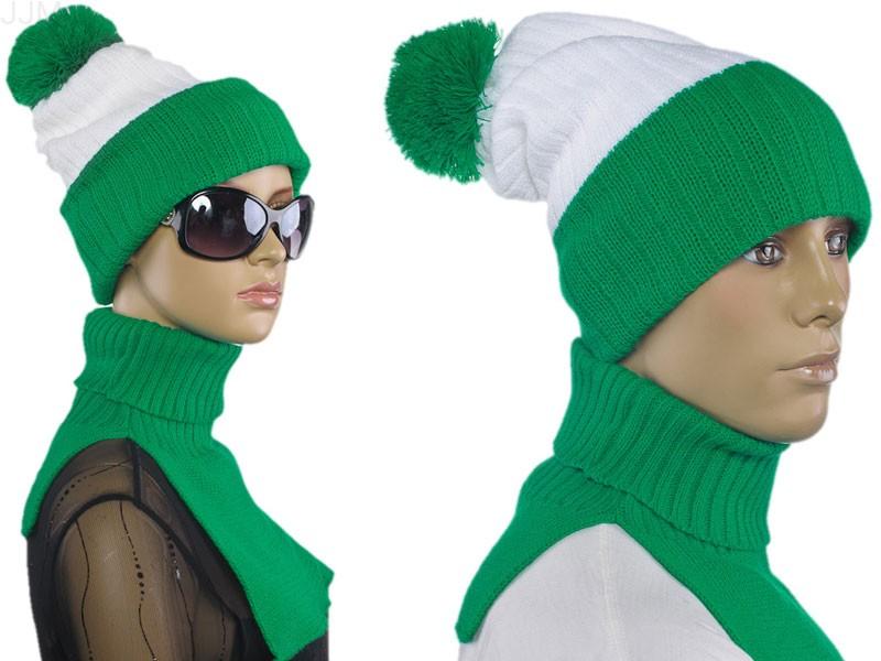 a87266281baf Uni komplet čiapka a šál rolákový bielo zelený 004