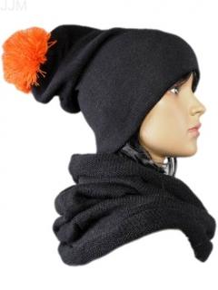 a18124e31 Čiapka dámsa čierna s brmbolcom oranžovým 046
