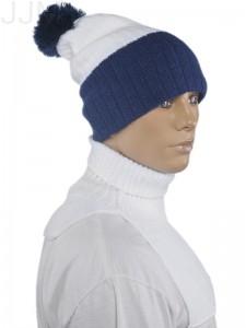 455a18789 Čiapka hrubá dvojfarebná bielo modrá 005m